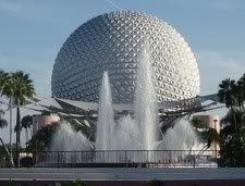 Epcot. The asymmetric fountains in the foreground highlight the diversity of water features found near many geodesic domes.