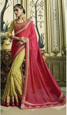 Red & Green Color Silk Crepe Heavy Designer Saree Blouse | FHR232726775 #designersaree #sarees #sari #onlinestore #heenastyle