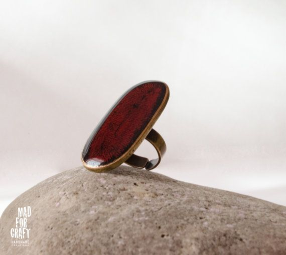 Distressed crimson ring Black-Red ring Dark red by MadForCraftGR
