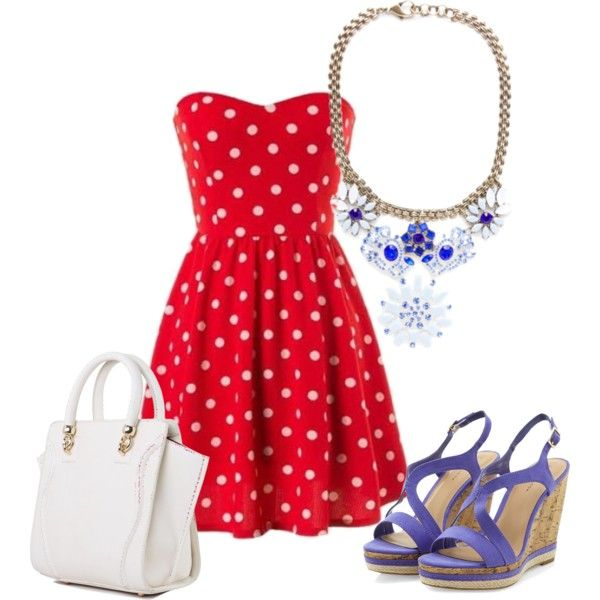Be #bold this #fourthofjuly with this #Blue #Beautiful Bib Necklace and red #PolkaDots dress. Its an #Elegant touch of patriotism