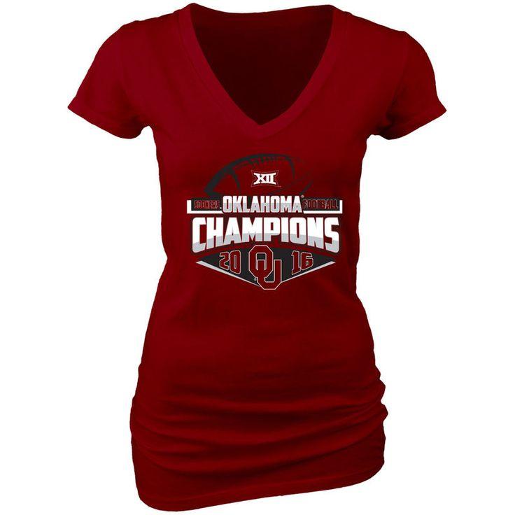 Oklahoma Sooners Blue 84 Women's 2016 Big 12 Football Champions Locker Room T-Shirt - Crimson