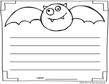 BAT writing printable included in I Love Halloween Literacy and Math by First Grade Schoolhouse. FIRST GRADE. $ BATS tree map, My HALLOWEEN Word Bank, Survey CANDY APPLES or CANDY CORN, Label a SKELETON, TRICK or TREAT Book, HALLOWEEN booklet, HALLOWEEN couplet poem, Compare and Contrast SPIDERS and INSECTS, What Will You Be for Halloween CLASS BOOK, 3 literacy and 3 math centers, and MORE!    http://www.teacherspayteachers.com/Store/First-Grade-Schoolhouse