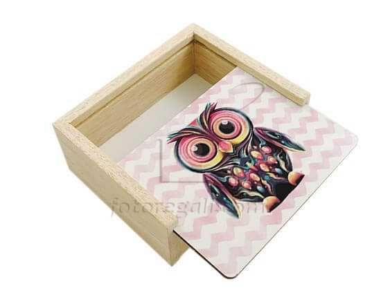 Gufetto colorato stampato sulla scatola in legno