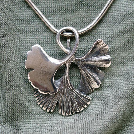Ginko leaf sterling silver pendant. by SetzerSilverDesign on Etsy, $135.00