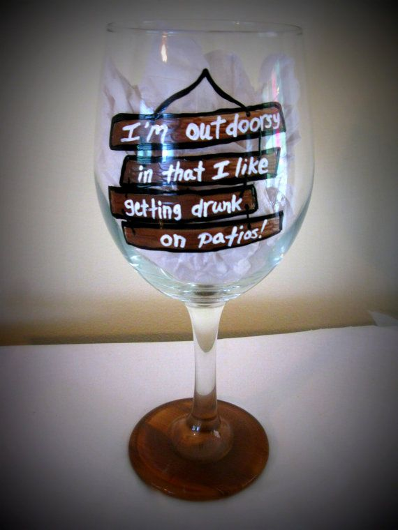 Amazing Wine On The Patio 20 Oz Hand Painted Wine Glass