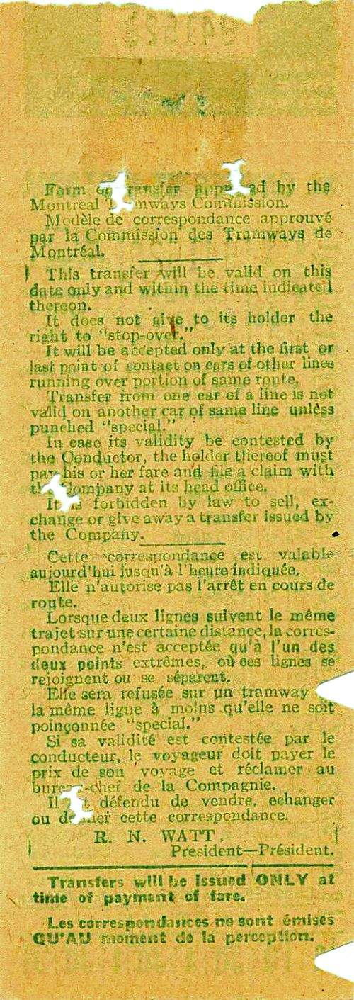 Back of transfer from Montreal Tramways Commission (date unknown; probably 1940s)