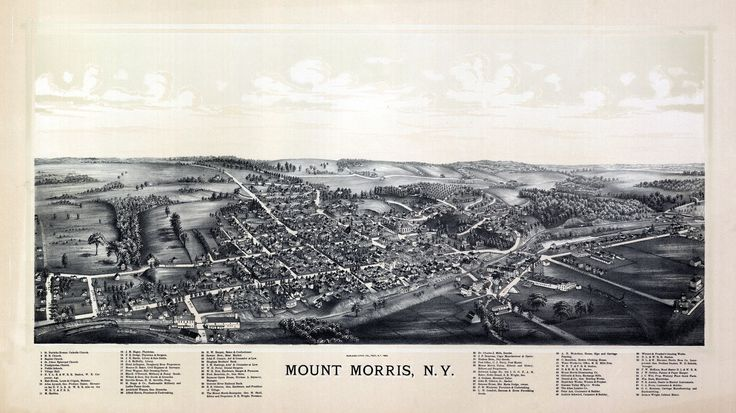 Old Map of Mount Morris New York 1893 Livingston County Poster