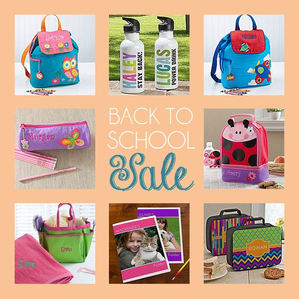 PersonalizationMall is having a Back to School Sale! This is so great because personalized school supplies are so handy and help keep everyone so organized! They have the cutest back packs and lunch bags too! You HAVE to check out all their cute stuff! #personalized #sale #backtoschool #schoolsuppliesBacktoschool Schoolsuppli, Sales Backtoschool, Back To School