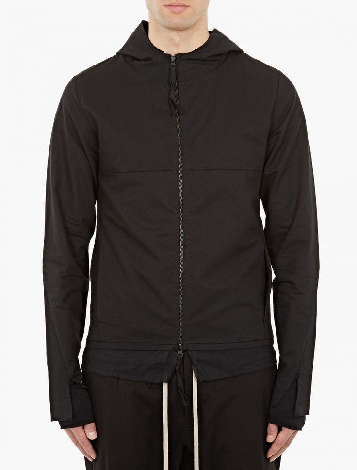 $267 Thom Krom,Black Zip-Down Hoodie,BLACK,0