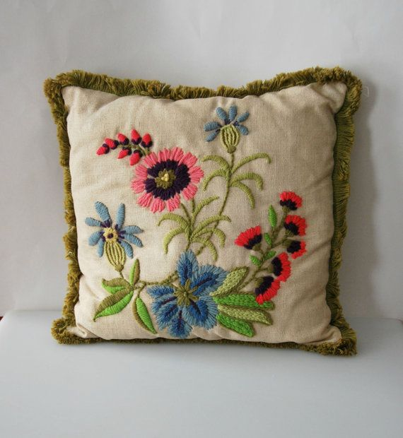 Crewel flower pillow with fringe  vintage by Callaina on Etsy, $20.00