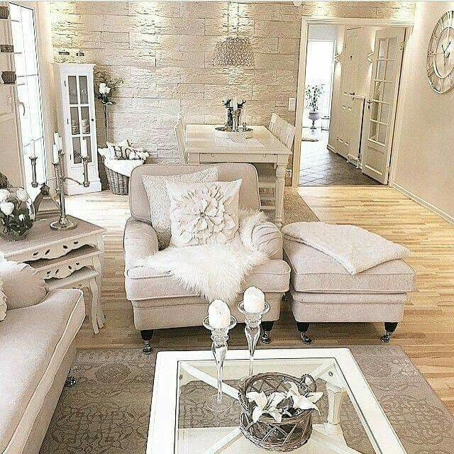 Stone wall and living room styling