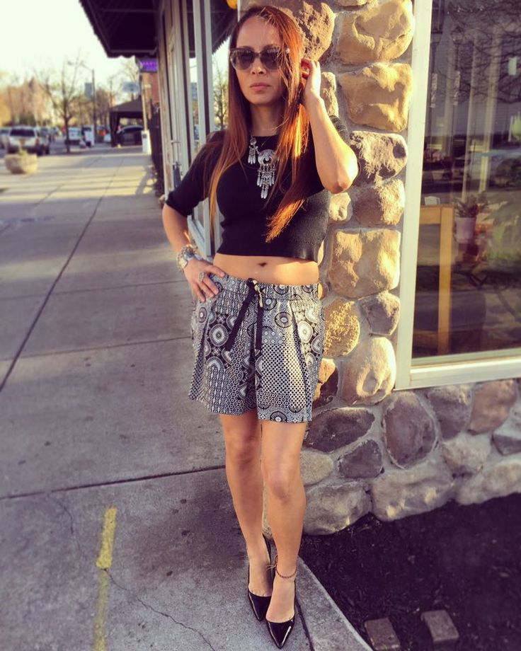 Mo:Vint crop sweater top and Dex patchwork print shorts!