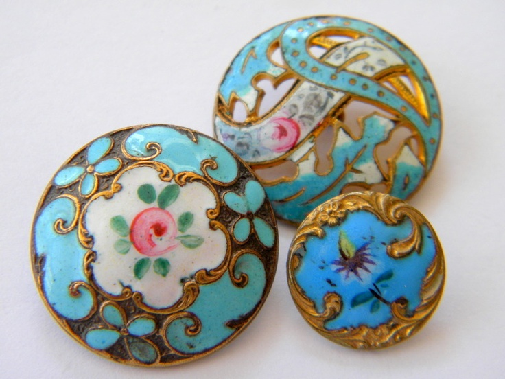 3 Antique enamel metal buttons brass victorian cut steel cloisonne champleve. OMG I LOOOVE THESE!!!