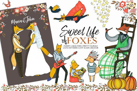 Foxes Hand Drawn Kids Fall Clip Art  - Illustrations
