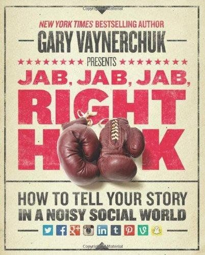 Jab, Jab, Jab, Right Hook: Gary Vaynerchuk http://www.amazon.com/gp/product/006227306X/ref=as_li_tl?ie=UTF8&camp=1789&creative=9325&creativeASIN=006227306X&linkCode=as2&tag=hustleheart-20&linkId=YTV22U6LX3DBYAPO