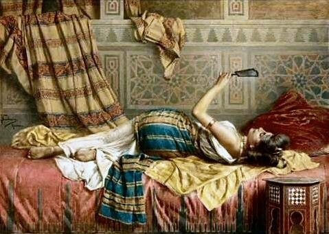 """A Reflection of Harem Beauty"" by Francesco Ballesio (1860-1923)"
