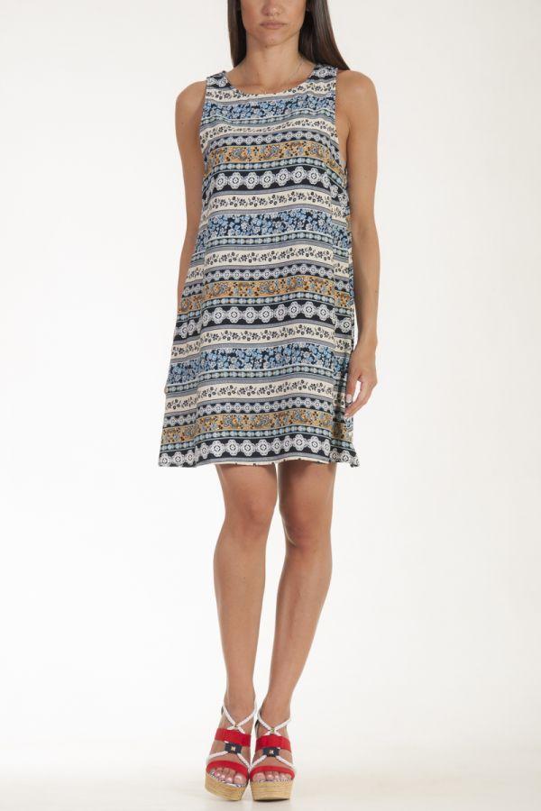 Φόρεμα κοντό κρεμ - μπλε λουλουδάτο γυναικείο glamorous