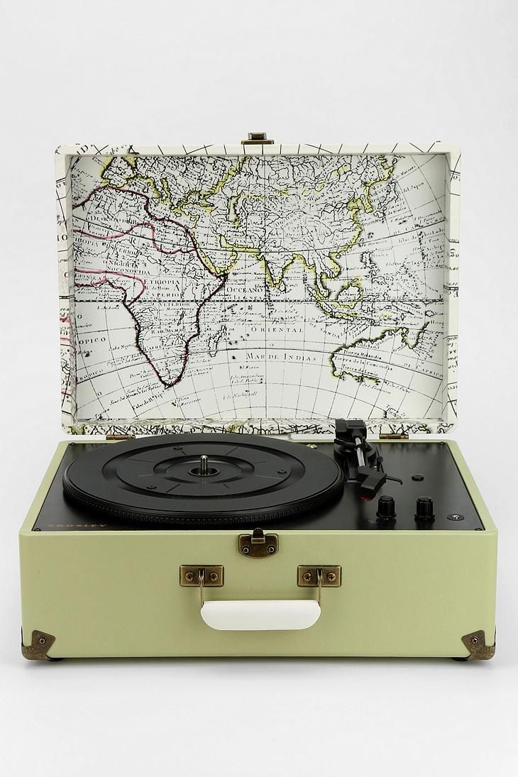 Portable USB Turntable from Crosley with a sweet interior map print.