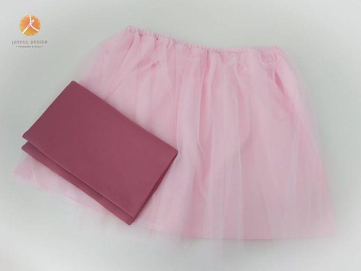 Pink tulle skirt - handmade clutch
