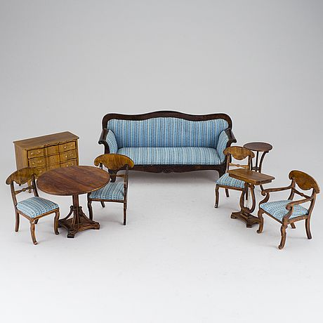 Nolbyn early 20th C furniture.  Love the striped upholstery!