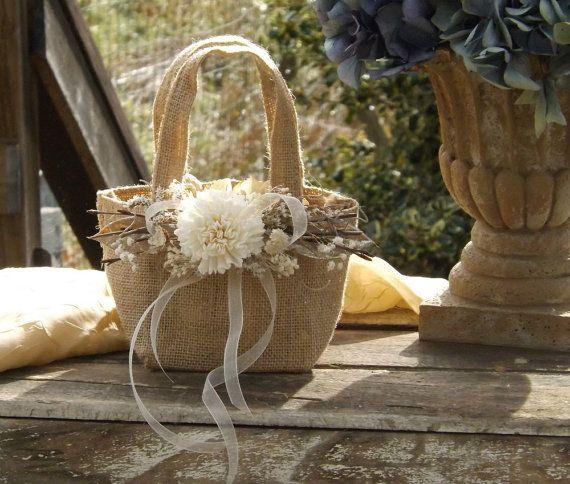 Burlap Flower Girl Basket with Sola Flower by treasuredflorals