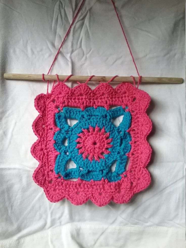 Crochet wall hanging ethnic square by VH22DESIGNS on Etsy