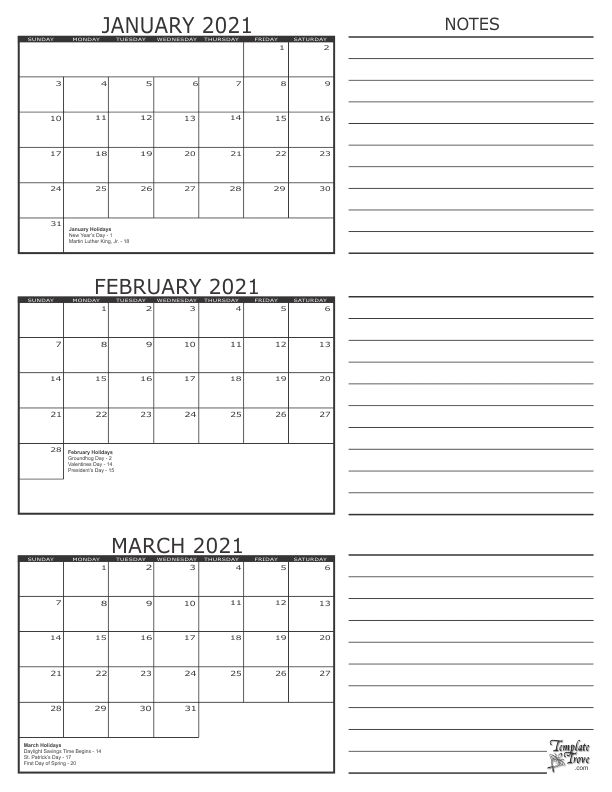 20+ Calendar 2021 Jan Feb March - Free Download Printable ...