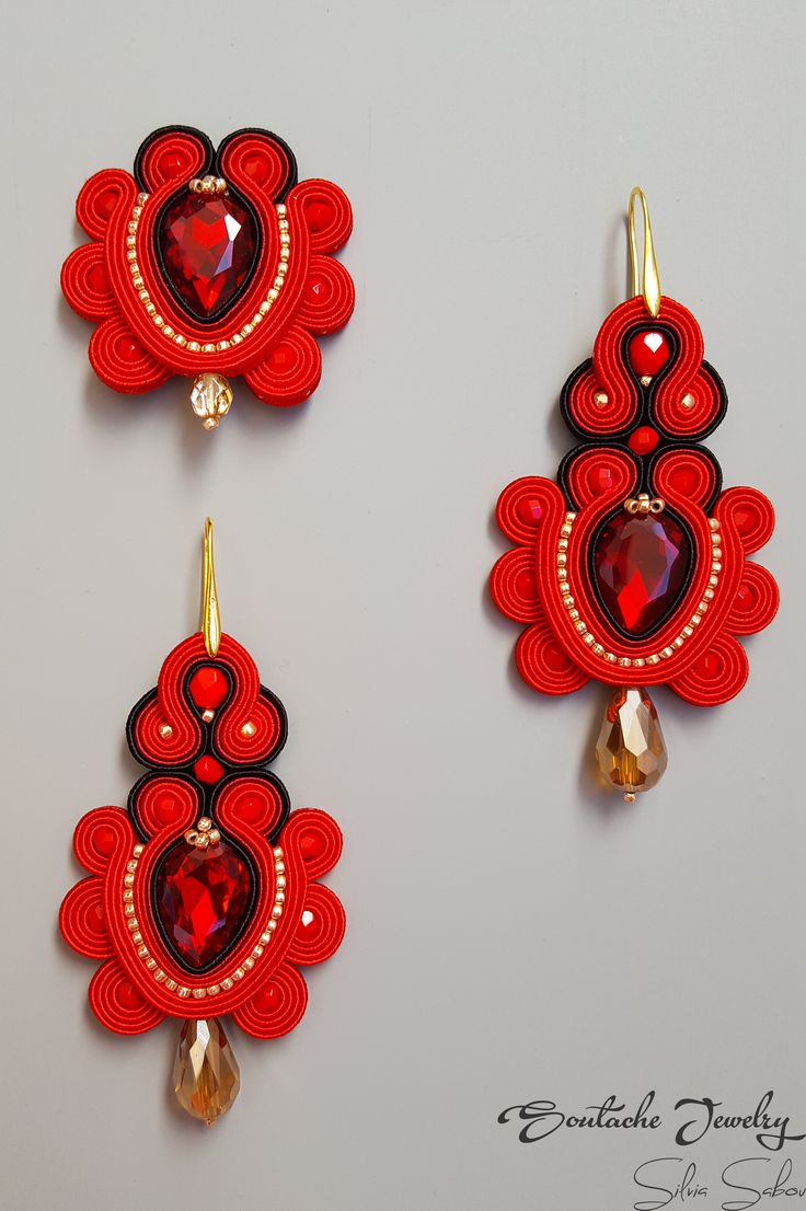 Red and Gold Soutache brooch and earrings