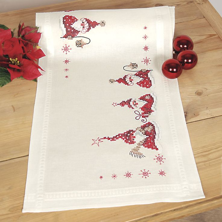 Santa Table Runner - Cross Stitch, Needlepoint, Embroidery Kits – Tools and Supplies