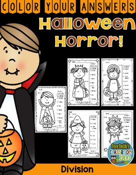 Five Color By Code Halloween Division Color Your Answers Worksheets with Answer Keys Included. Adorable, Non-Scary Kids in Halloween Costumes Theme.  Division Halloween Fun - Color Your Answers Printables for some Math Fun in your classroom!This math resource includes:FIVE No Prep Printables that can be used for your math center, small group, RTI pull out, seat work, substitute days or homework, 5 answer keys included too!Terrific for an Emergency Sub Tub or Homework…