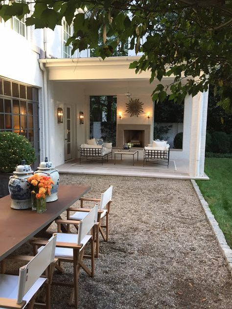 Back porch and side pea gravel terrace