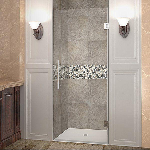 Cascadia 23 X 72 Hinged Shower Door With Images Frameless Hinged Shower Door Shower Doors Frameless Shower Doors