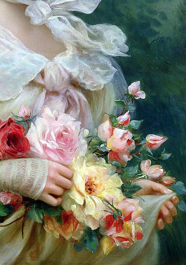Elegant Lady with a Bouquet of Roses, Emile Vernon (detail)