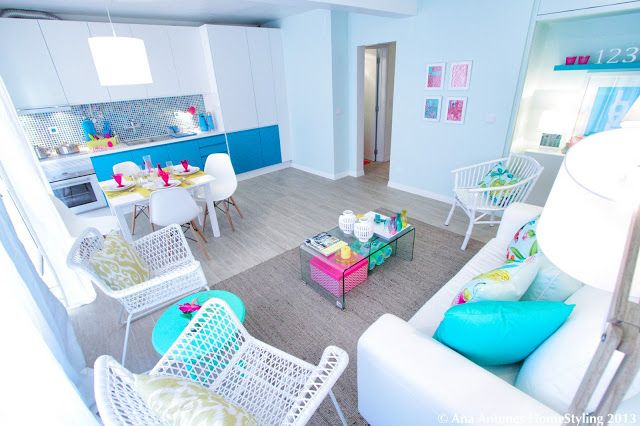 Project for 'Querido Mudei a Casa' Portuguese Home Makeover Show - Apartment for 4 girls - colorfull - happy - fresh - airy
