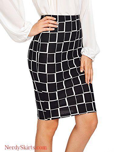 42196918b9 Floerns Women's Plaid Print High Waist Knee Length Bodycon Pencil Skirt