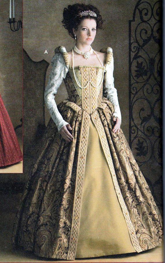 Traje Elizabethan Womans de patrón vestido Medieval de
