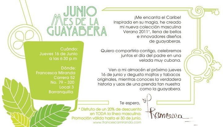 """One of my favourite invitation cards """"Month of the/ Mes de la - Guayabera"""""""