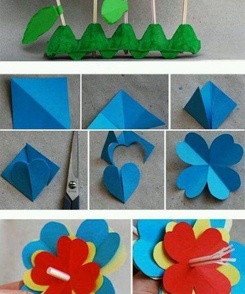El İşi Kağıdından Rengarenk Çiçek Yapımı