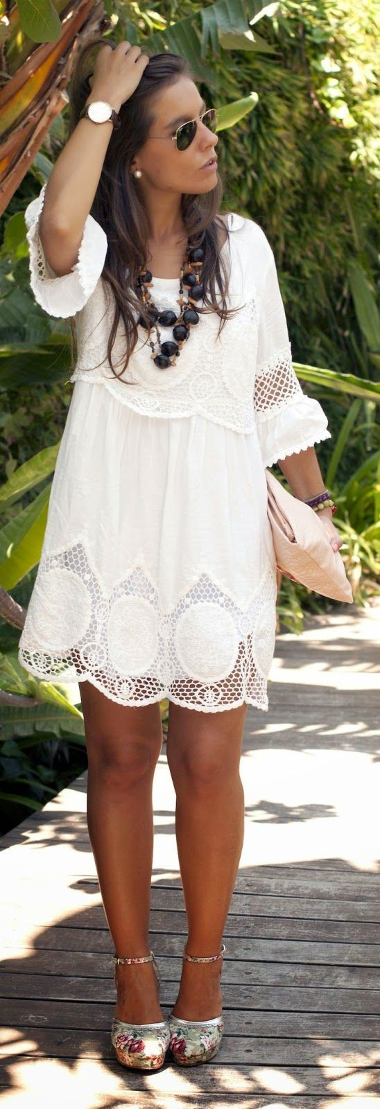 White Lace Boho Chic Style Dress Cute Floral Pattern Shoes Summer Look 2015.