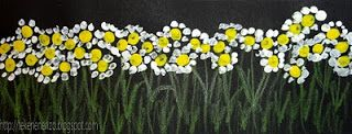 Tekenen en zo: lentebloemen stippen met een wattenstaafje