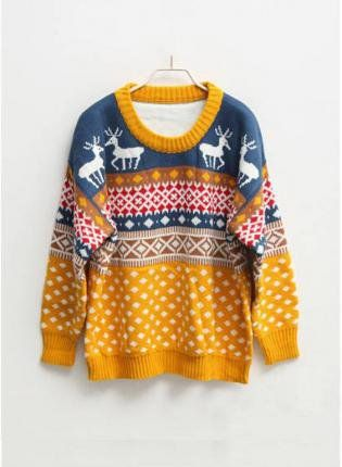 Orange centre christmas pudding jumper