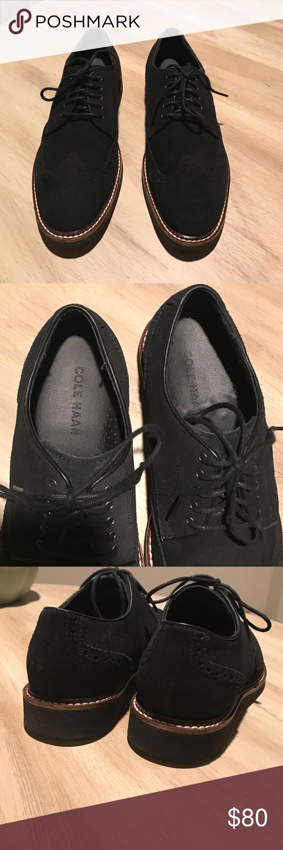 Cole Haan suede wing tip oxford dress shoes Cole Haan loafers. Suede black wing tip oxford size 7 men. Never been worn. Cole Haan Shoes Flats & Loafers
