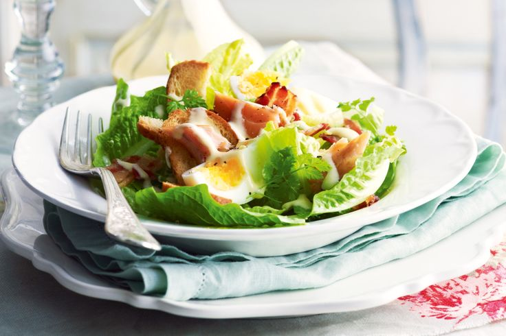 For a smokey alternative to the usual caesar salad use portions of hot-smoked salmon instead of chicken.