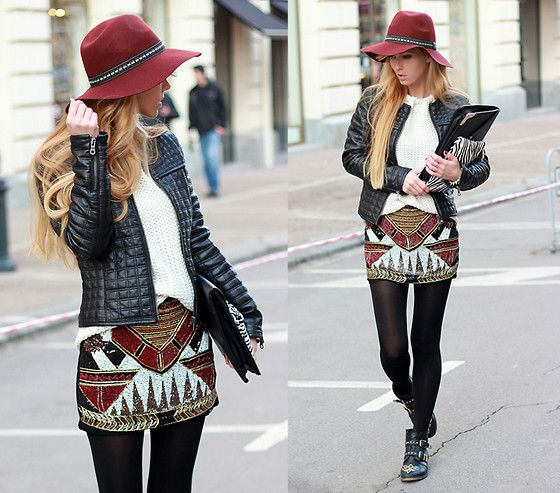 New Yorker Jacket, Zara Sweater, Pull And Bear Beaded Skirt, Stradivarius Booties, Stradivarius Clutch, Zara Purse, H Hat