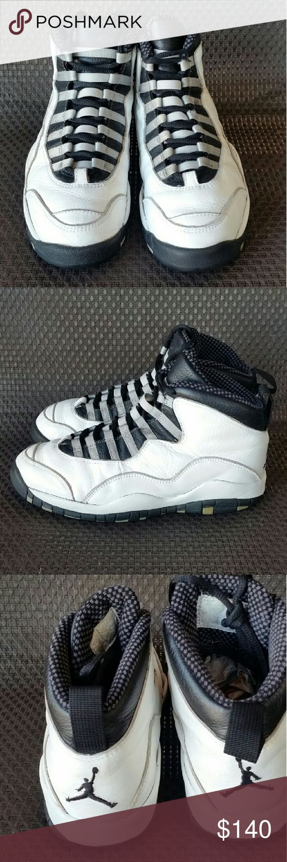 """1994 O.G Jordan 10 Steel Retro """"Rare"""" Here we have a pair of 1994 """"Extremely Rare"""" with the OG toe cap 100% Authentic in fair condition Jordan original 10 steel shoes.These shoes are very rare and vintage so wear at your own risk.No midsole crumbling. If you have any questions please ask. Jordan Shoes Sneakers"""