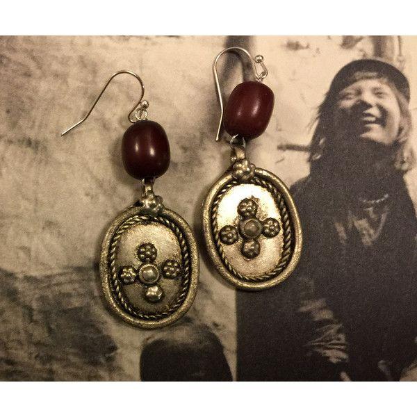 Vintage Buffalo Horn Earrings, Boho, Statement Earrings ($31) via Polyvore featuring jewelry, earrings, red statement earrings, oval earrings, boho jewelry, vintage earrings and brown earrings
