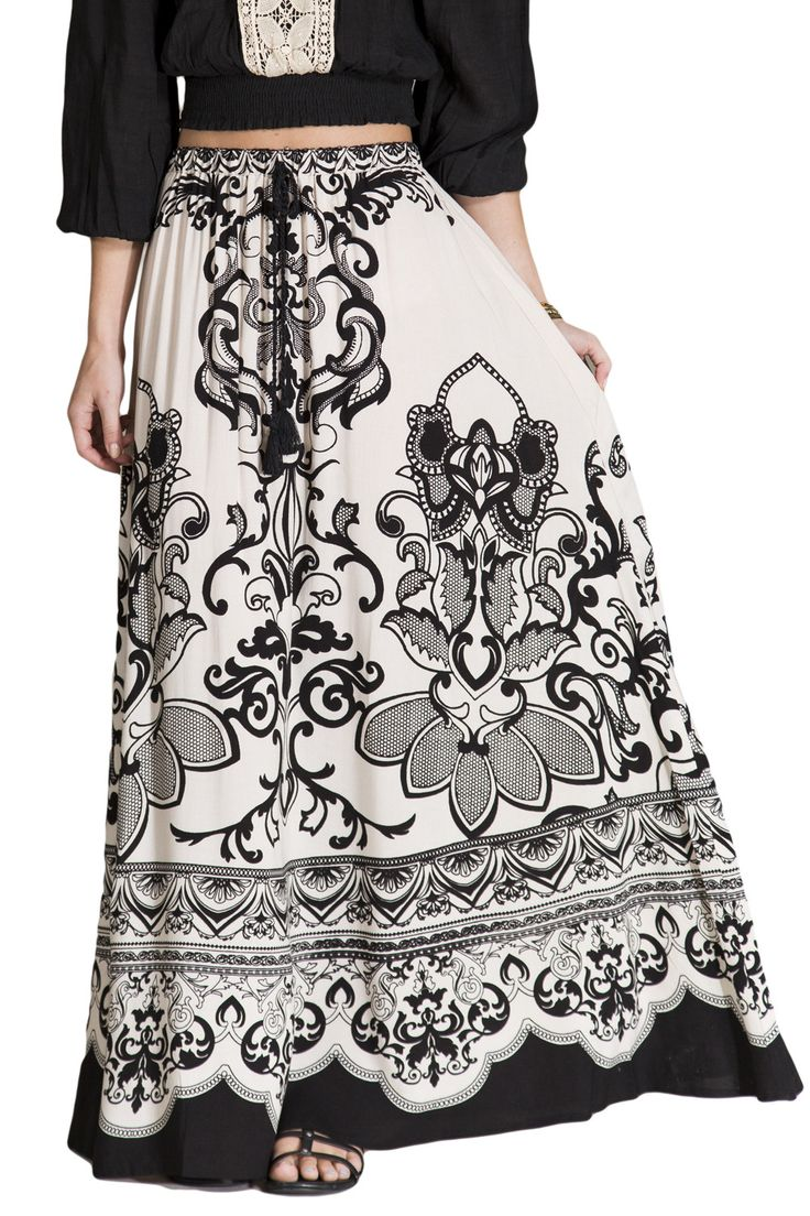 Womens Ivory & Black Floral Print Ethnic Long Full Length Boho Gypsy Maxi Skirt