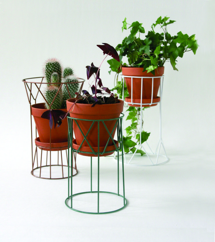 FLORA pedestal for flower pots in copper paint, petrol grean and white. www.wiscollection.se