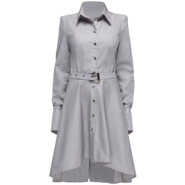 LATTORI Swarovski Buttoned Shirt-Dress ($319) ❤ liked on Polyvore featuring dresses, lattori, gray shirt dress, grey dress, button up shirt dress, shirt dress e textured dress