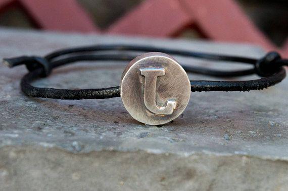 Initial mens silver bracelet-Men leather bracelet-Adjustable